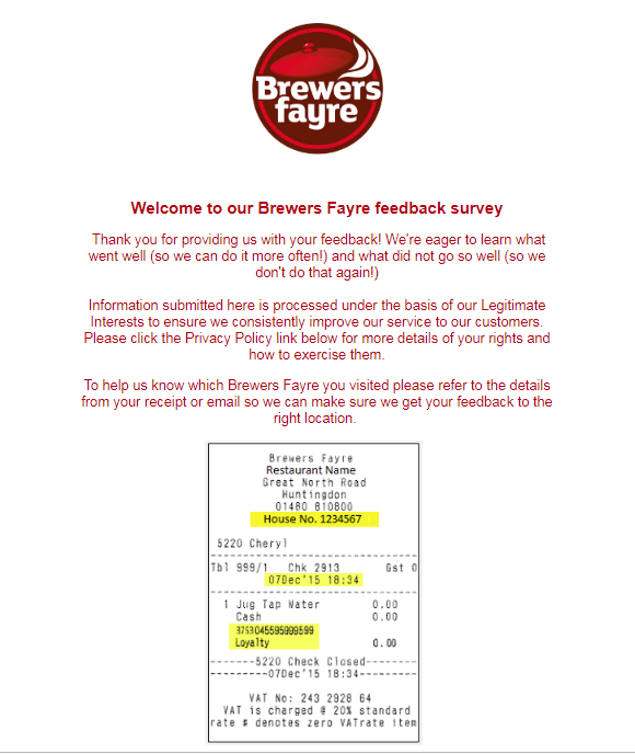 Brewers Fayre Survey1