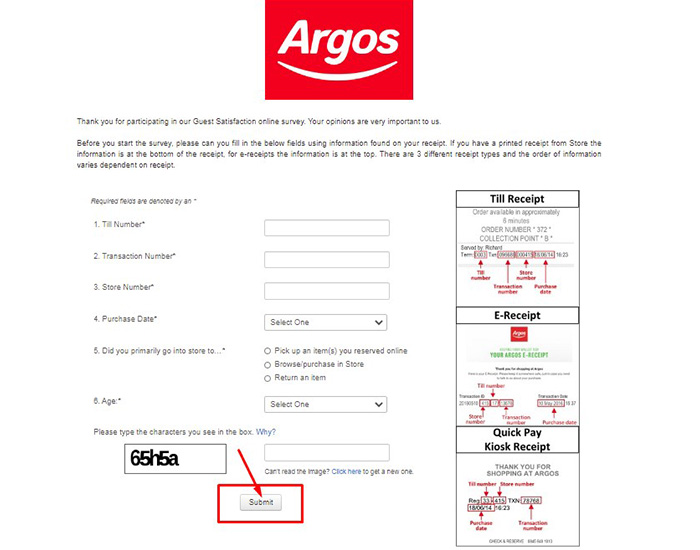 www.argos.co.uk/storefeedback survey