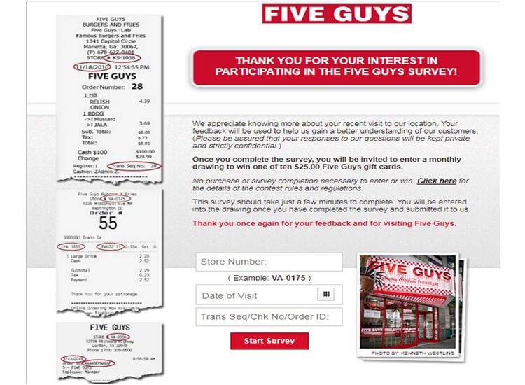 www.fiveguys.com survey